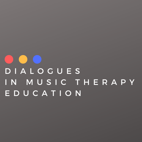 "Red, yellow, and blue circles above the words ""Dialogues in Music Therapy Education"" in white lettering on a grey background."